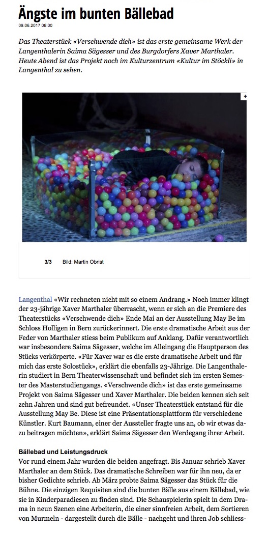 Neue Oberaargauer Zeitung - Ängste im bunten Bällebad
